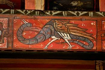 Detalle de pintura en alfarje. Pájaro