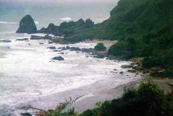 Roque y playa en Abel Tasman, Nueva Zelanda
