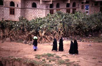 Grupo de mujeres paseando en Amran, Yemen