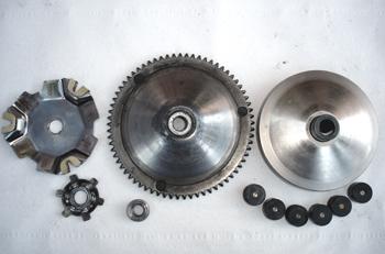 Ciclomotor. Despiece del variador de velocidad . Vista de poleas
