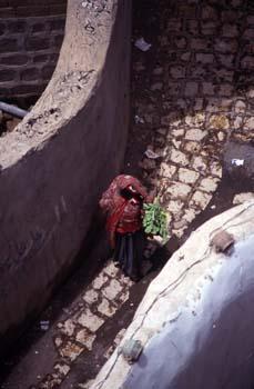 Mujer pasando por una calle, con manojo de verduras, Yemen
