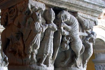 Capitel labrado de la Colegiata de Santillana del Mar, Cantabria