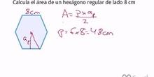 Cálculo del área de un hexágono regular conocido el lado