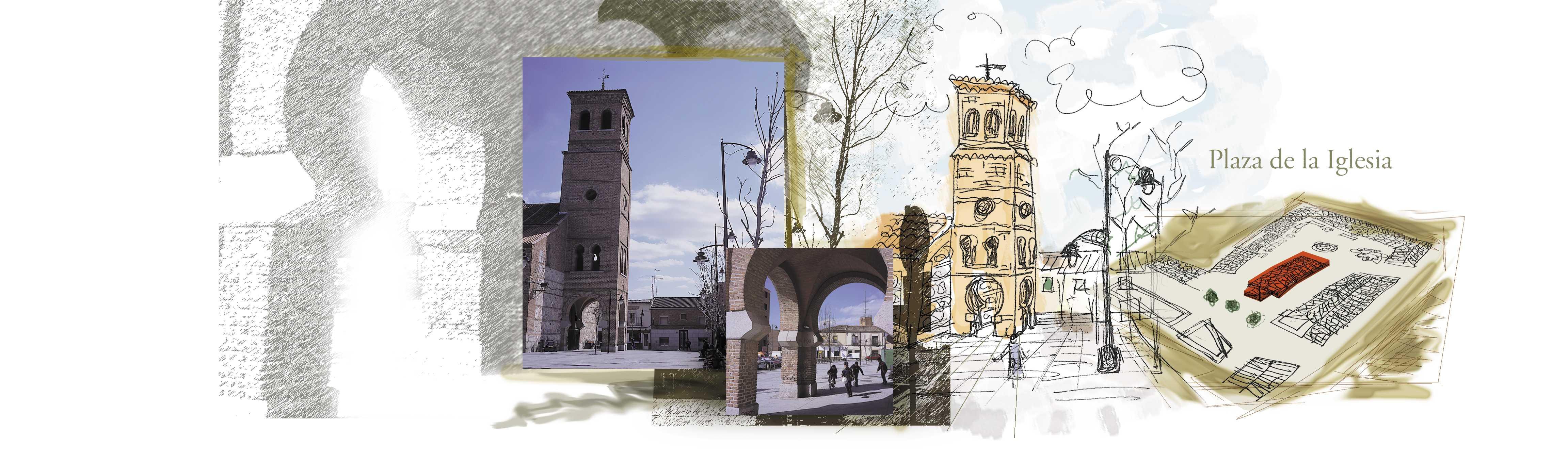 Foto artística de plaza de iglesia de San Sebastián de los Reyes