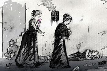 Guillermina y Jacinta en el corredor