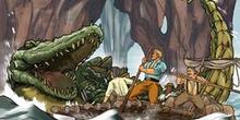 Viaje al centro de la Tierra: Un cocodrilo monstruoso atacando a