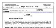 Ficha de Bádminton 2 para 1º ESO