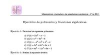 Ejercicios de polinomios y fracciones algebraicas