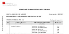 Listado provisional de No admitidos en escuelas SAE de Usera