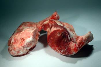 Trozos de carne cruda