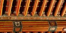 Detalle de pintura en alfarje. Motivos decorativos, Huesca