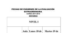 Exámenes Evaluación Extraordinaria Distancia 2017/18