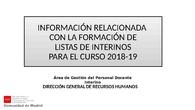 Dudas sobre Formación de listas de Interinos para el curso 2018-2019