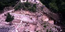 Trabajos de restauración en Chichén Itzá, México
