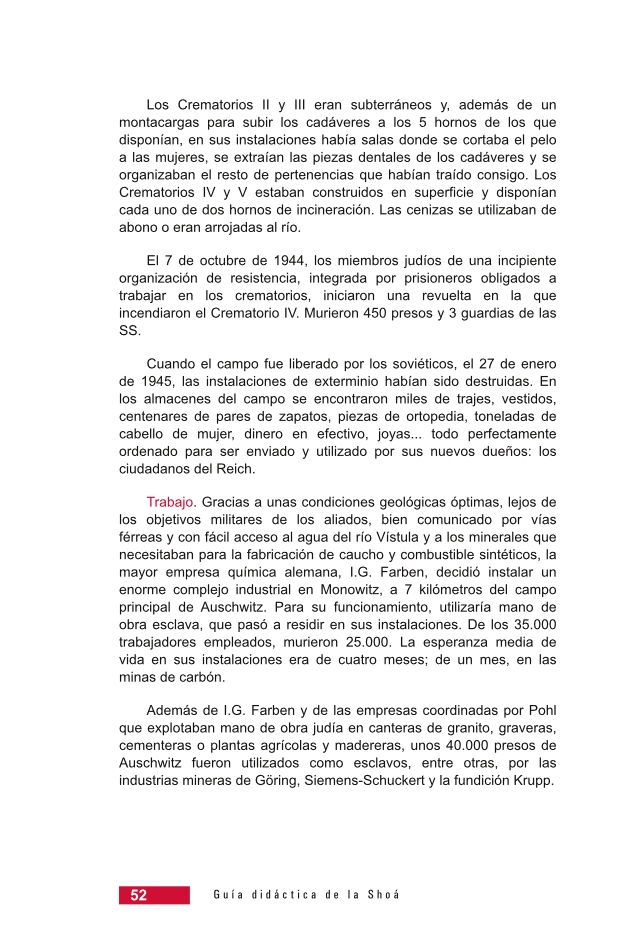 Página 52 de la Guía Didáctica de la Shoá