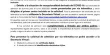 Información de Admisión CEIP Francisco de Orellana 2020-2021