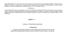 Curriculum Langue et Littérature Françaises