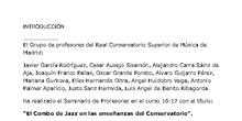 El Combo de Jazz en las enseñanzas del Conservatorio