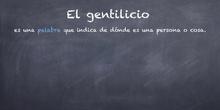 PRIMARIA - 4º - EL GENTILICIO - LENGUA - P. T  - FORMACIÓN
