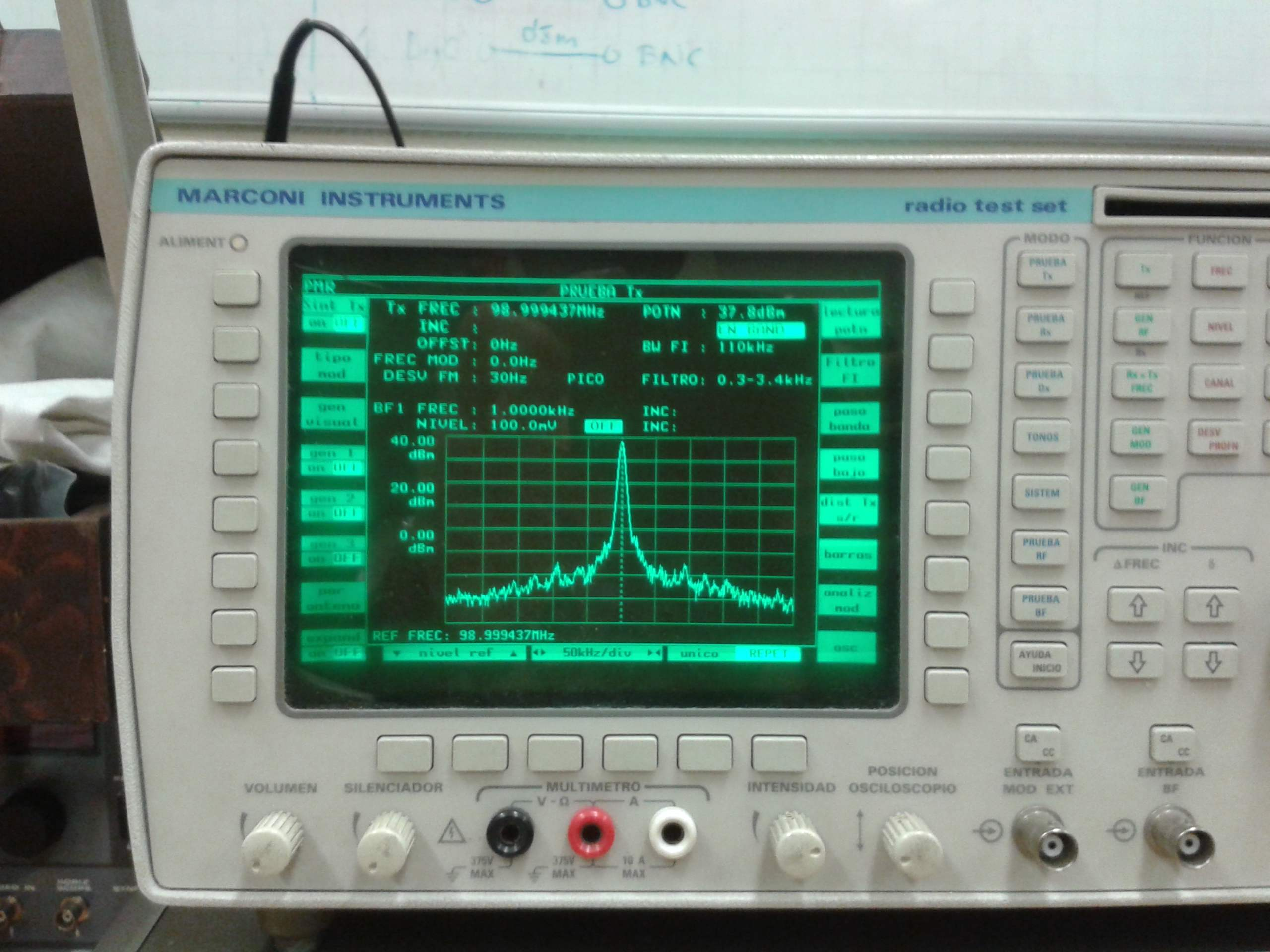 Visualización de portadora de radiofrecuencia en un analizador de espectros