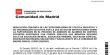 RESOLUCIÓN CONJUNTA DE LAS VICECONSEJERÍAS DE POLÍTICA EDUCATIVA Y DE ORGANIZACIÓN EDUCATIVA POR LA QUE SE DICTAN INSTRUCCIONES SOBRE LA PARTICIPACIÓN EN EL PROCESO DE ADMISIÓN DE ALUMNOS EN CENTROS DOCENTES SOSTENIDOS CON FONDOS PÚBLICOS QUE IMPARTEN SEGUNDO CICLO DE EDUCACIÓN INFANTIL, EDUCACIÓN PRIMARIA, EDUCACIÓN ESPECIAL, EDUCACIÓN SECUNDARIA OBLIGATORIA Y BACHILLERATO DE LA COMUNIDAD DE MADRID PARA EL CURSO 2020/2021.