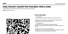 FINAL PROJECT. KAHOOT FOR TEACHERS. PROS & CONS.