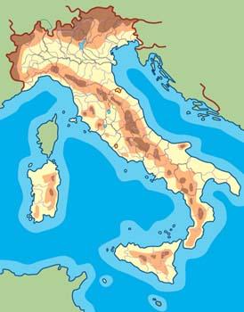 Mapa físico de Italia