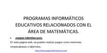 CPEE Severo Ochoa RECURSOS WEB RELACIONADOS CON EL ÁREA DE MATEMÁTICAS