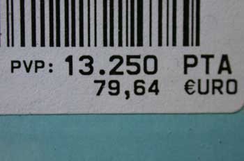 Etiqueta de precio de un producto
