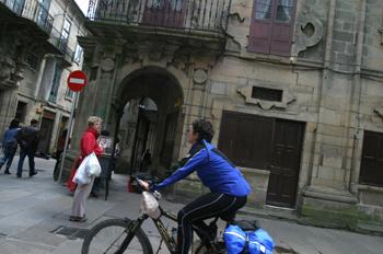 Peregrina en bicicleta, Santiago de Compostela, La Coruña, Galic
