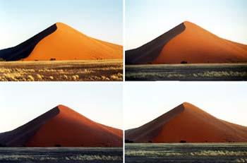 Composición de graduación de luz sobre una duna, Namibia