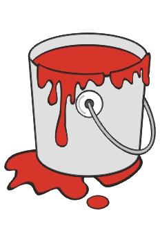 Cubo de pintura roja