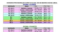Horario curso 2019-2020 EOI Ciudad Lineal