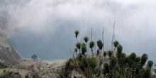 Laguna de Quilotoa cubierta por la niebla, Ecuador