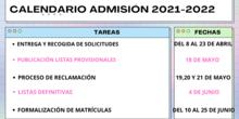 Fechas de admisisón curso 2021/22