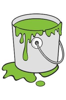Cubo de pintura verde