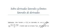 Sobre derivada laterales y límites laterales de las derivadas