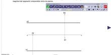 Verdadera magnitud de segmento de la recta entre plano vertical y horizontal