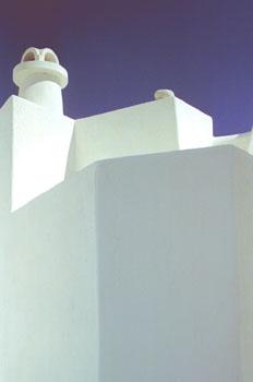 Chimenea de una casa de Santorini, Grecia