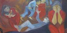 Detalle de un cuadro pintado en memoria de las víctimas de los A