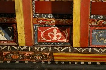 Detalle de pintura en alfarje. Hojas, Huesca