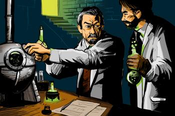 Un experimento del Doctor Ox: El doctor Ox y su ayudante Ygene