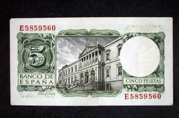 Reverso de un billete de cinco pesetas acuñado por el Banco de E