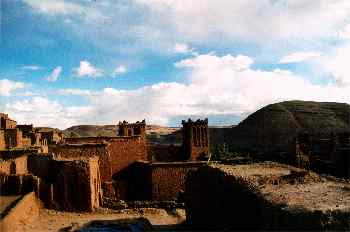Azoteas de construcciones de adobe, Ait Benhaddou, Marruecos