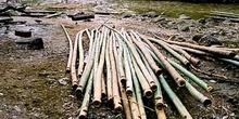 Bambú apilado para la construcción de balsas, Tailandia