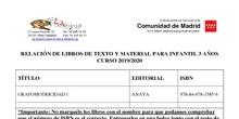 Listado de libros y materiales curso 19/20