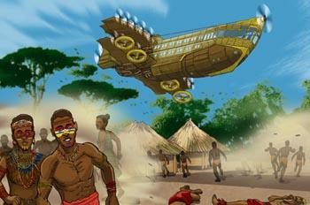 Robur el conquistador: El Albatros sobrevolando el pueblo de Dah
