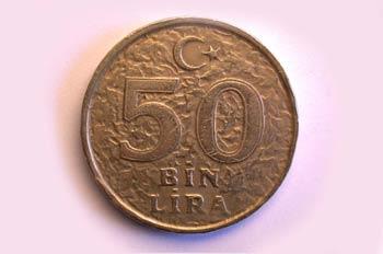 Moneda de cincuenta liras, cruz, Turquía