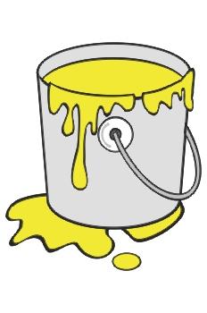 Cubo de pintura amarilla