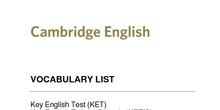 KET vocabulary list